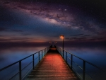 Pier under Milky Way Sky