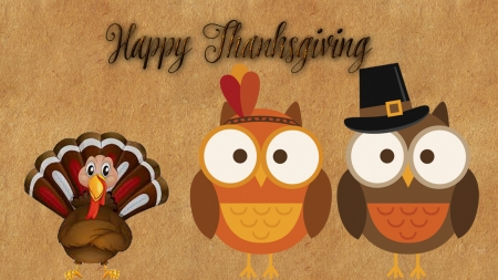 Thanksgiving Owls & Turkey - harvest, holiday, November, pilgrims, owls, cute, Thanksgiving, e, turkey, Native American, feast, Firefox Persona theme