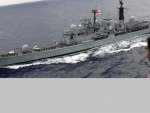 WORLD OF WARSHIPS  HMS MANCHESTER RENDERING HONOURS TO THE USS HARRY S TRUMAN