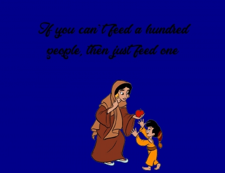 Feed people - jasmine, mother theresa, food, people