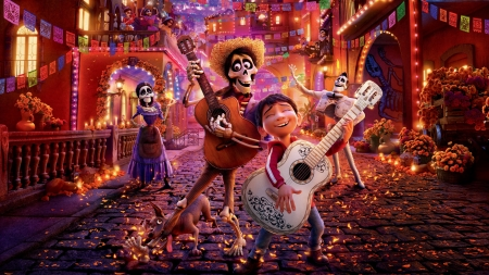 Coco (2017) - poster, skeleton, movie, orange, coco, boy, instrument, fantasy, guitar, skull, disney