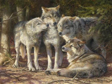 Wolves - art, wolf, luminos, lup, pictura, painting