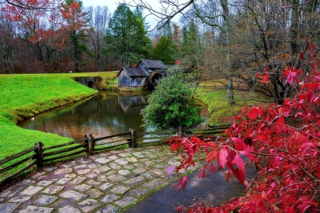 Late Fall at Mabry Mill, Virginia - colors, path, leaves, trees, autumn