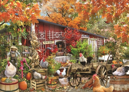 Barnyard Chicken - fall, autumn, hens, cart, barrels, artwork, barn, leaves, butterfly, painting, rooster, poultry, colors, birds, scarecrow, trees, cases, pumpkins