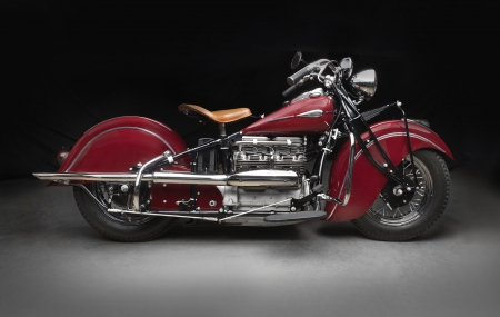 1941 Harley Davidson Indian 441 Series 4-Cylinder - vintage, motorbike, red, harley, indian, tourer