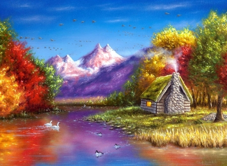 Autumn Reflection - rural, fall season, autumn, colors, love four seasons, attractions in dreams, countryside, leaves, paintings, mountains, nature, cabins, rivers
