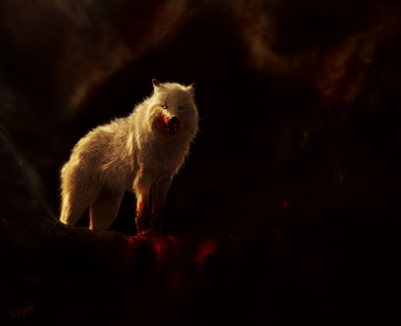 Wolf - blood, animal, art, Wolf