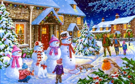 Snowmen Greeting People - holiday, winter, christmas, people, lights, seasons, home, Snowmen, children