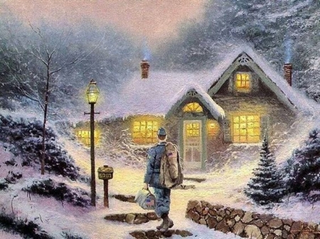 return in home - beauty, art, snow, winter, cool, paintings, people, nature