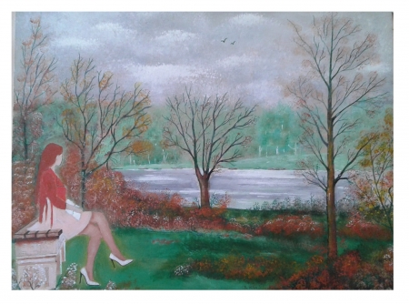 acrylic painting by saad Antoine kilo.copyrighted  - art, models, female, people, color, nature, river, shoes