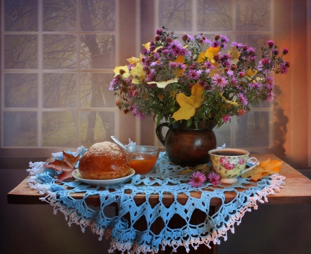 autumn still life - table, window, maple, asters, tea, napkin, leaves, cup, jug, flowers, still-life, pie