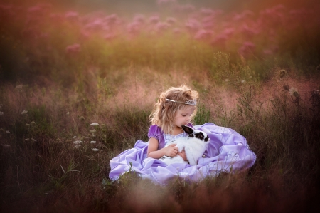 Little girl with bunny - rabbit, dress, little, animal, girl, purple, copil, bunny, child, rodent, pink