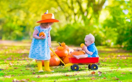Children - hat, copil, autumn, orange, boy, pumpkin, green, girl, cute, couple, halloween, children