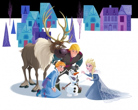 Olaf's Frozen Adventure (2017) - elsa, anna, winter, reindeer, disney, olafs frozen adventure, movie, iarna, poster