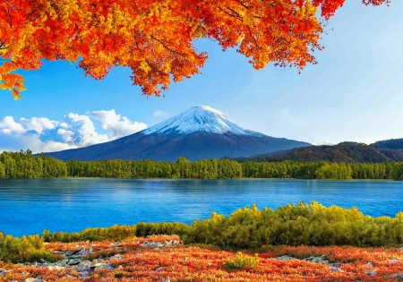Autumn in the Far East - peak, fall, east, branches, river, autumn, mountain, view, sky, beautiful, reflection, tranquil, lake