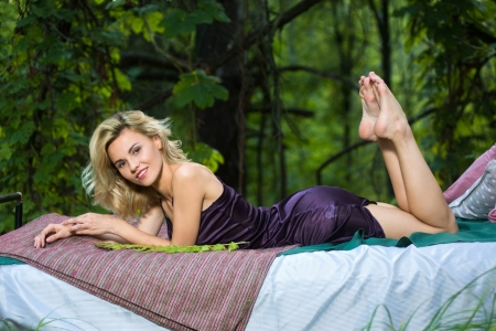 Beautiful Jenaya S - blonde, dress, model, forest, bed