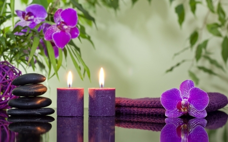Orchid Reflection - orchid, candles, purple, still life, stones, towel, flames, spa, orchids, reflection