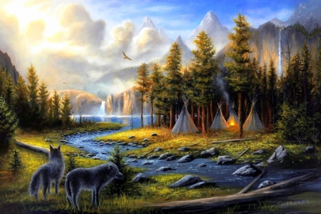 Wild America - love four seasons, attractions in dreams, paintings, wild, landscapes, nature, forests, wolves, streams, animals, rivers