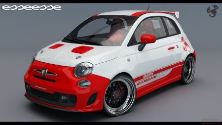 Fiat 500 Abarth - Fiat, Red, Sport, Car, Beautiful, White, Racing, Abarth