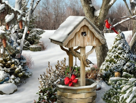 Winter Wishes - chickadees, snow, painting, birds, garden, wishing well, artwork, cardinal