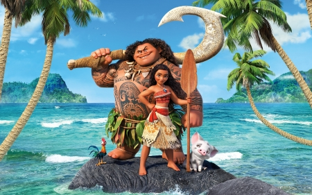 Moana (2016 film) - poster, movie, sea, fantasy, water, girl, summer, maui, moana, god, disney, blue