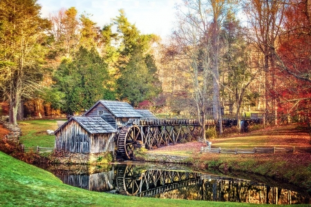 Mabry Mill at Fall - watermill, colors, leaves, water, trees, reflection