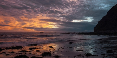 Stormy Skies at Dana Point Headlands - rocks, sunset, sea, sky, california, clouds, coast