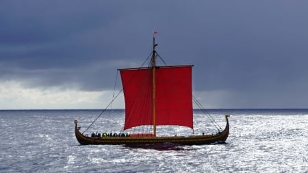 Viking Ship - Sail, Ship, Viking, ocean