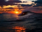Amazing wave at the sunset