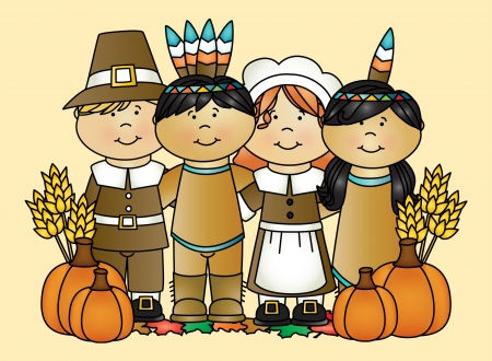Thanksgiving - Fall, hats, holiday, wheat, children, pilgrims, boys, leaves, Thanksgiving, girls, indians, Autumn, feathers, kids, pumpkins