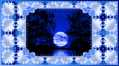 Blue Moon - water, blue, moon, quilt, trees