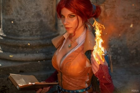 Triss Merigold - The Witcher - animated, background, video game, game, HD, PC, Character, Triss Merigold, Fantasy, PC Gaming, CGI, gaming, wallpaper, desktop, high def, The Witcher
