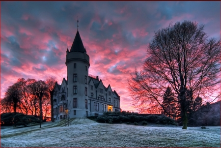 Gamlehaugen Castle, Bergen, Norway - building, snow, sunset, trees, clouds, sky, winter