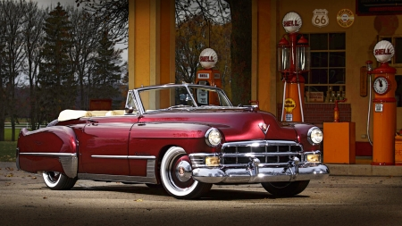 1949 Caddy - red, 1949, Cadillac, Entropy, restomod, Caddy, gas staytion