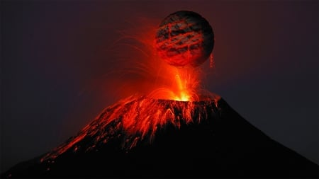 Volcanic Eruption - fire, volcano, Firefox Persona theme, hot, lava, mountain
