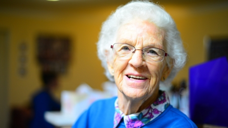 Older Lady - Glasses, Old, Woman, Blue, Smile, People