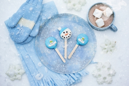 Ready for Winter - Lollipop, Scarf, Gloves, Blue, Winter, Chocolate