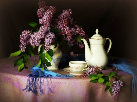 MORNING TEA AND LILACS - LILACS, FLOWERS, TEAPOT, IMAGE