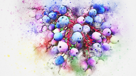 Berry Splatter - color, art, painted, berries, splatter, Firefox Persona theme, abstract, blue berries