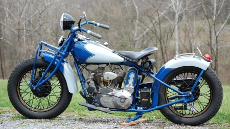 1934 Indian-Motorcycle - 1934, Classic, Spokes, Blue