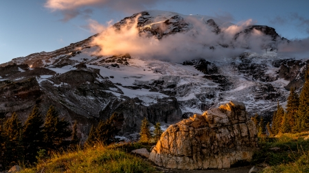 The Rock at Rainier - Natonal Parks, Mountains, Clouds, Nature