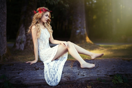 Forest Maiden - blonde, dress, forest, model