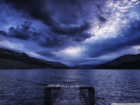 Stormy Day - pier, stormy, mountains, clouds, river, lake, nature