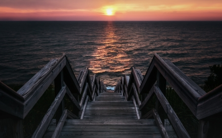 Pier Horizon - sunset, nature, horizon, pier