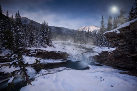 Starry Night over Frozen Mountain River - Stars, Mountains, Sky, Forests, Snow, Rivers, Nature, Winter