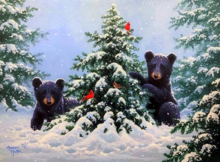 O Christmas Tree - Christmas, holidays, Christmas Tree, love four seasons, attractions in dreams, xmas and new year, winter, cardinals, paintings, snow, winter holidays, nature, bears, forests