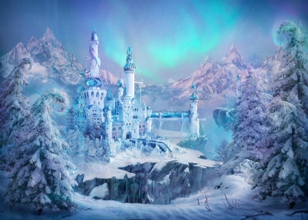 The Castle Of The Snow Queen - art, towers, mountains, trees, winter
