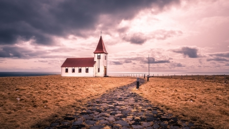 Church by the Sea - Sea, Churches, Nature, Oceans, Clouds, Architecture