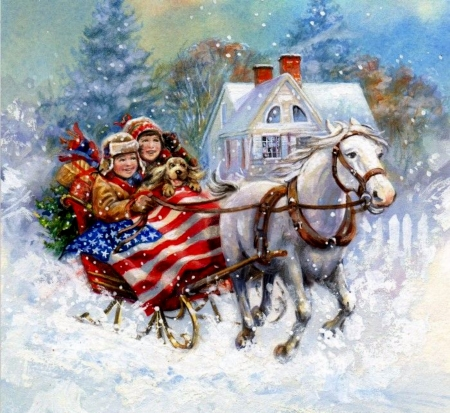 Vintage Christmas Horses Animals Background Wallpapers On Desktop Nexus Image 2327726