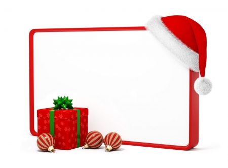 Merry Christmas! - red, craciun, christmas, frame, gift, card, hat, santa, white